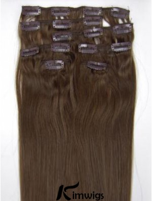 Perfect Brown Straight Remy Human Hair Clip In Hair Extensions
