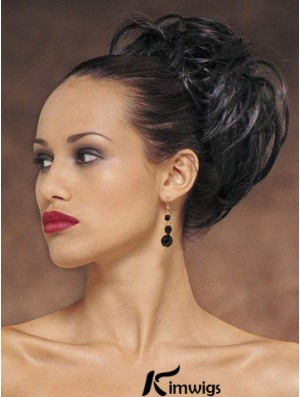 Exquisite Black Wavy Synthetic Clip In Hairpieces