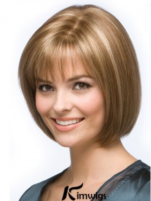 Blonde Bob Wig Chin Length Synthetic Capless Straight Style Human hair wigs