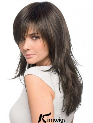Kimwigs Best Quality Realistic Brown Straight Remy Human Hair Easy Long Wigs With Bangs