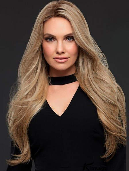 Sexy Good Blonde Long Wavy Without Bangs Human Hair Women Lace Front Wig 24 Inches