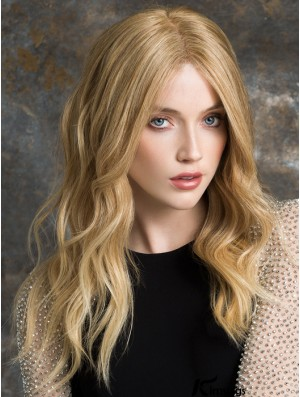 Long Lace Front Wigs Blonde Color Wavy Style Human Hair Wigs