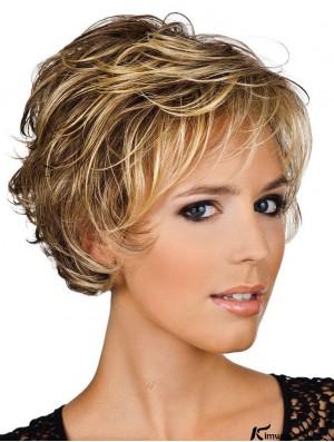 Human Hair Wigs UK Layered Cut Wavy Style Short Length