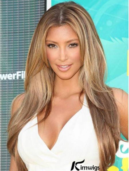 Best Human Hair wigs Straight Style Blonde Color With Monofilament Kim Kardashian wig