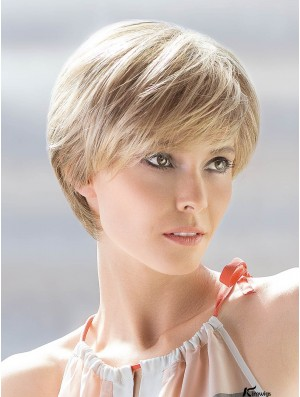 Blonde Short 100% Hand-Tied With Bangs Straight 8 inch Human Hair wigs