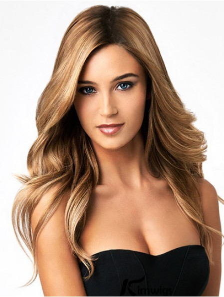 Sexy Blonde Color Long Length Wavy Style Human Hair Full Lace Wigs For Women
