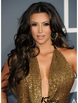 Shining Black Color Curly Long Human Hair Lace Front Wigs For Kim Kardashian Wigs