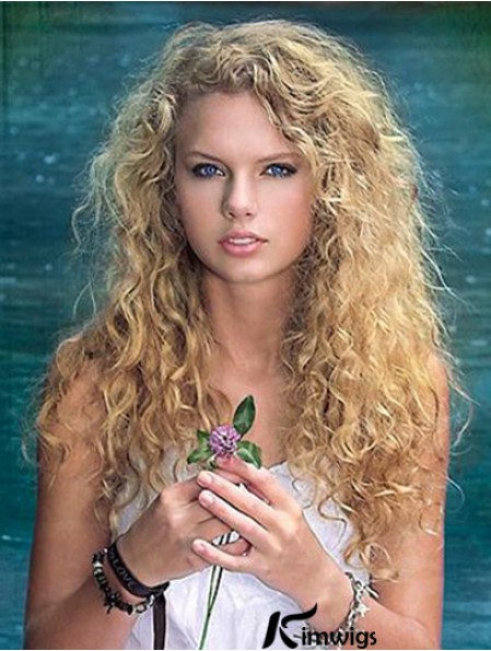 Fabulous Blonde Curly Long Taylor Swift Human Hair Wigs With Monofilament Top Lace Front