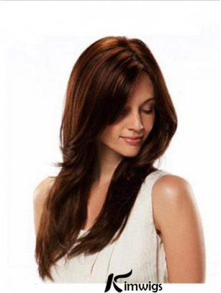 Human Hair Wigs Lace Front  Wig Long Length Straight Style Auburn Color