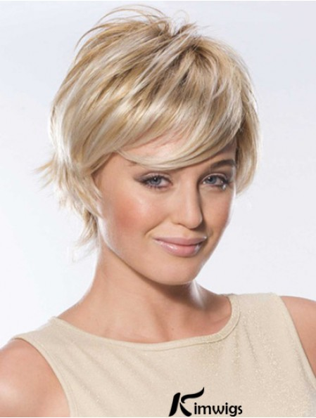 Blonde Color Straight Wigs With Lace Front Short Length Human Hair Wigs
