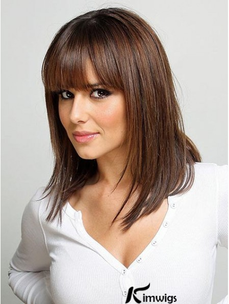 Cosy Auburn Lace Front Shoulder Length human hair Wigs With Bangs