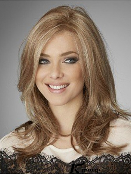 Trendy Blonde Wavy Long Remy Human Hair Lace Front Wigs