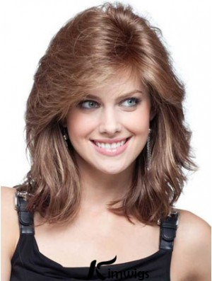 Human Hair Lace Front Wig Layered Cut Shoulder Length