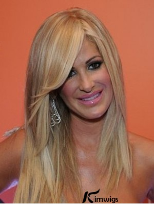 Kim Zolciak Wigs With Bangs Lace Front Long Length Blonde Color Human Hair Wigs