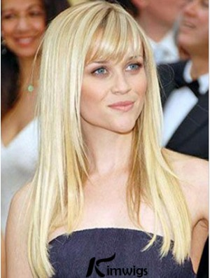 Blonde Remy Human Long Straight With Bangs Mono Wigs Human Hair