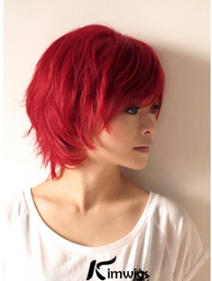 Wavy Wigs In Human Hair Wavy Style Short Length Red Color