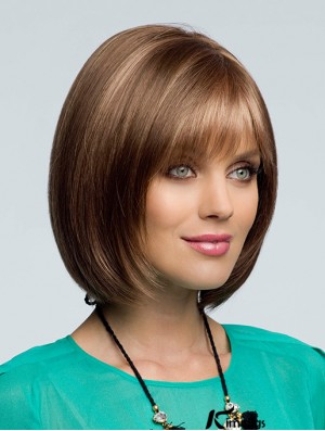 Bob Wigs With Bangs Chin Length Remy Human Wavy