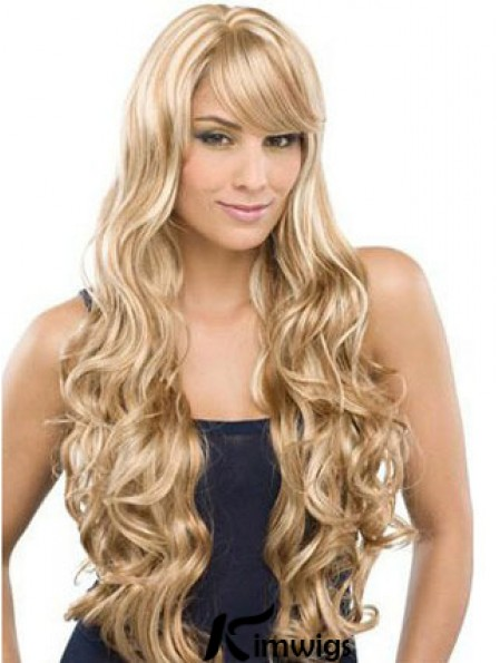 Long 100% Hand Tied Wavy With Bangs Monofilament Lace Front Wigs