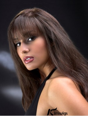 Full Lace Wig With Bangs Long Length Auburn Color