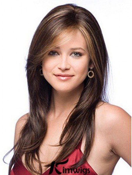 Monofilament Filament Wigs With Lace Front Layered Cut Auburn Color