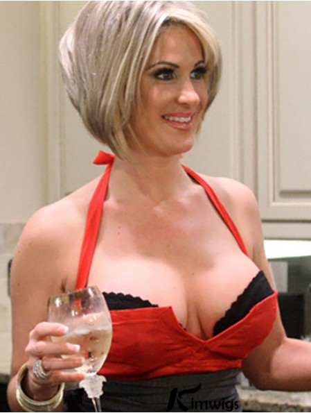Remy Human Blonde Straight Layered Kim Zolciak Wig Line For Sale