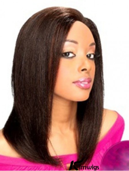 14 inch Black Shoulder Length Without Bangs Yaki Modern Lace Wigs