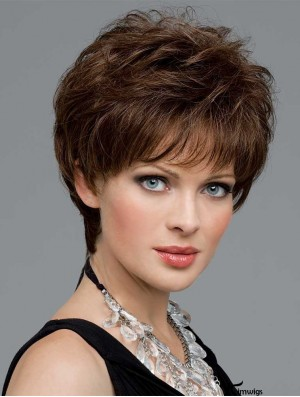 Petite Wigs With Monofilament Boycuts Wavy Style Short Length