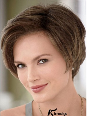 Human Hair Wigs Affordable Lace Front Wigs Monofilament Straight Style Brown Color Short Length Wigs