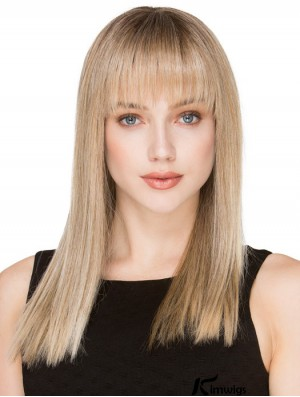 Blonde Long Human Hair Monofilament Wigs With Fringe With Bangs For Women