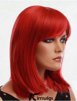 Human Hair Red Wig With Bangs Capless Red Color Straight Style