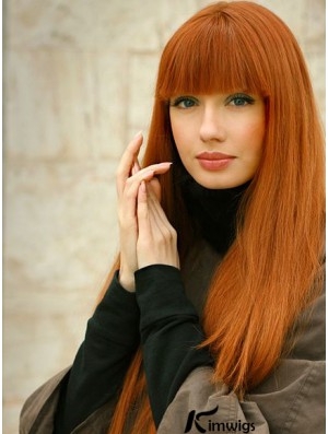 100% Human Hair Lace Front Wigs With Bangs Straight Style