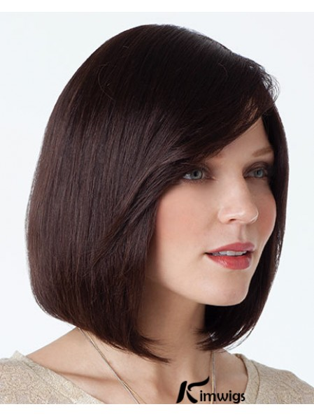 Beautiful Bob Wigs With Capless Auburn Color Chin Length With Full Bangs