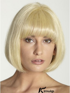 Blonde Straight Chin Length Bobs 100% Hand-tied Cheap Human Hair Wigs With Bangs