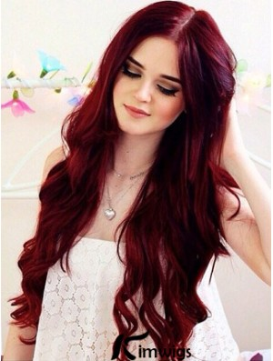 Charming Deep Red Hair Color Long Human Hair Wavy Lace Front Wigs