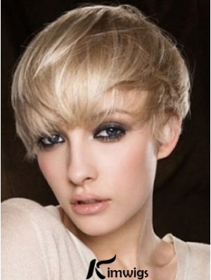 Blonde Human Hair Wig Cropped Length Straight Style Boycuts