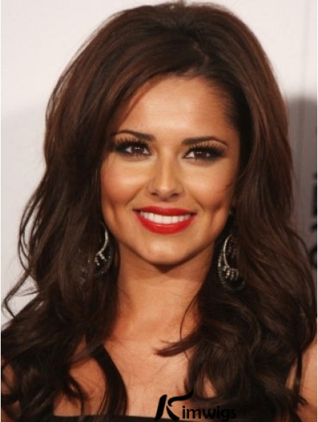Best Wigs Long Length Wavy Style Auburn Color Cheryl Remy Human Hair Wigs With Lace Front Mono