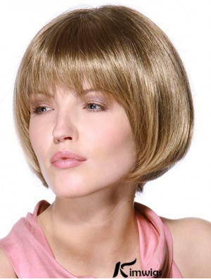 Layered Bob 100% Hand Tied Blonde Color Straight Style Chin Length Human Hair Wigs
