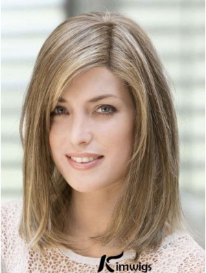 Amazing 14 inch Brown Shoulder Length With Bangs Straight Human hair Wigs