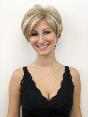 Blonde Wigs With Lace Front Mono Wavy Style Short Length Bob Human hair Wigs