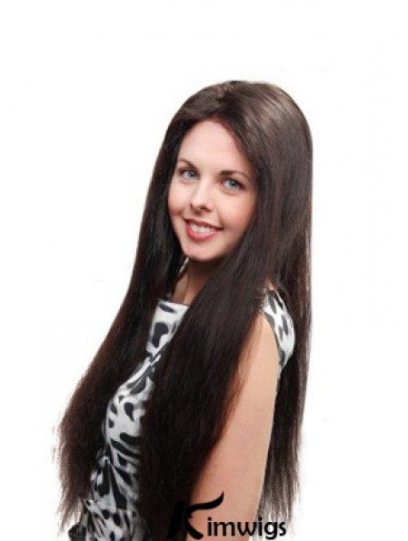 Straight Without Bangs 100% Hand-tied Sleek 26 inch Black Long Wigs