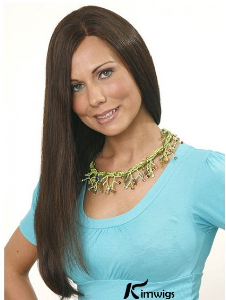Without Bangs Long Brown Straight 24 inch Designed Human Hair Wigs