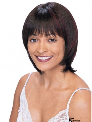 With Bangs Perfect Straight Auburn Chin Length Human Hair Wigs