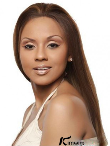 Brown Remy Human Hair Lace Front Straight Long Wigs Without Bangs
