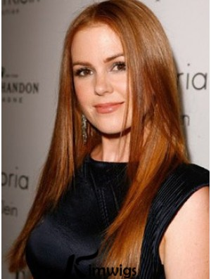 Copper 100% Hand Tied Without Bangs Long Straight 20 inch Online Human Hair Wigs For Isla Fisher