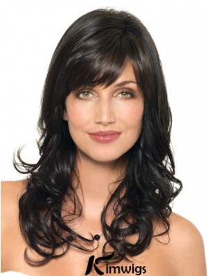 Black Wavy With Capless Layered Cut Style Synthetic Wigs With Bangs