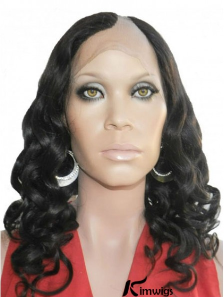 18 inch Lace Front Curly Black Perfect U Part Wigs