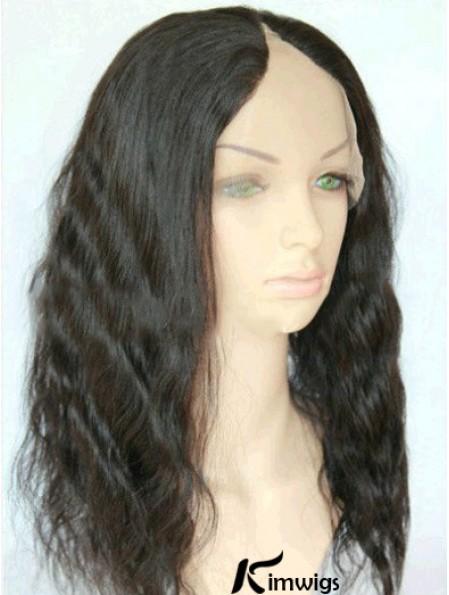 16 inch Lace Front Wavy Black Suitable U Part Wigs