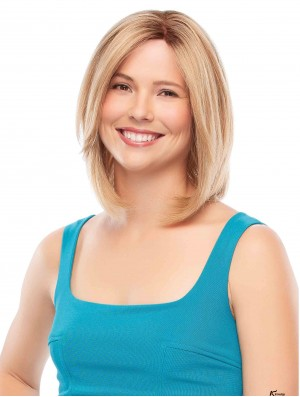 Chin Length Straight Bobs Blonde Comfortable 100% Hand-tied Wigs