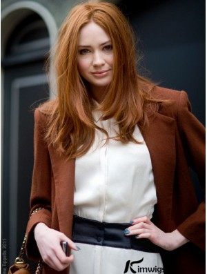 Without Bangs Long Copper Straight 18 inch Convenient Human Hair Karen Gillan Wigs