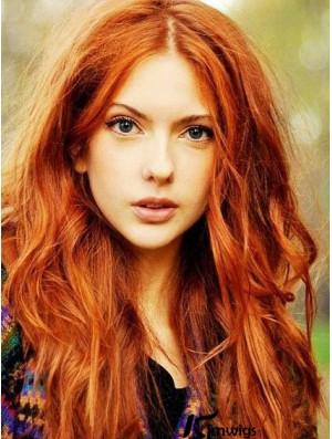 Copper Long Wavy 22 inch Wigs Without Bangs For Great Karen Gillan Human Hair Wigs